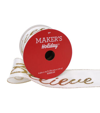 Maker's Holiday Christmas Ribbon 2.5''x25'-Gold Glitter Believe on White