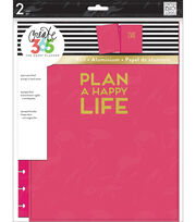 Create 365 Big Snap-In Hard Cover Planner-Pink Plan A Happy Life, , hi-res