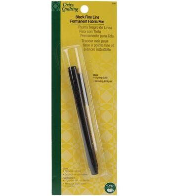 Dritz Quilting Fine Line Permanent Ink Fabric Pen Black
