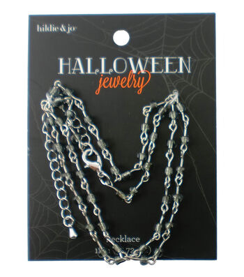 hildie & jo™ Halloween 18'' Silver Necklace-Gray Beads