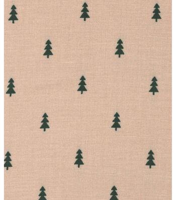 Holiday Showcase™ Christmas Cotton Fabric 43''-Mini Christmas Trees on Beige