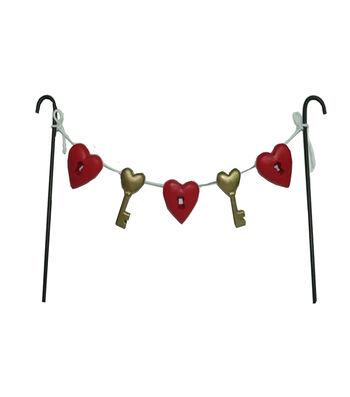 Valentine's Day Littles Resin Heart & Key Banner