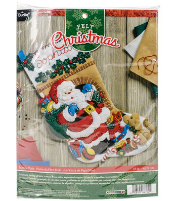 "Santa's Visit Stocking Felt Applique Kit 18"" Long"