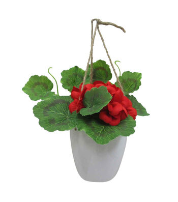 Fresh Picked Spring Small Geranium in Hanging Pot-Red