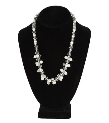 Short Cluster Necklace Pearl Crystal