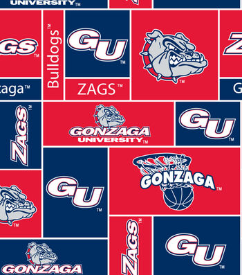 """Gonzaga University Bulldogs Fleece Fabric 60""""-Logo"""