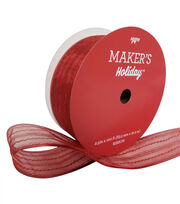 Maker's Holiday Christmas Value Ribbon 2.5''x100'-Red Glitter Stripe, , hi-res