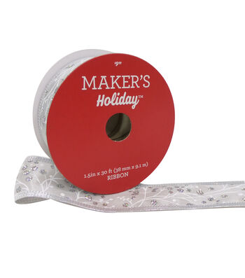 Maker's Holiday Christmas Satin Ribbon 1.5''x30'-Silver Berries