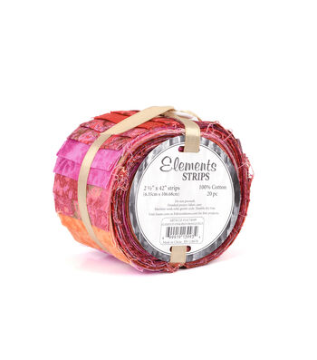 """Jelly Roll Cotton Fabric 2.5""""-Pink/Red/Orange"""