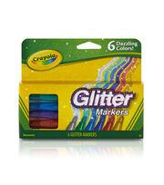Crayola Glitter Markers-Dazzling Colors 6/Pkg, , hi-res
