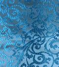 Brocade Intricate Scroll Fabric-Turquoise
