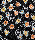 1930\u0027s Cotton Fabric 43\u0022-Dotted Flowers Black
