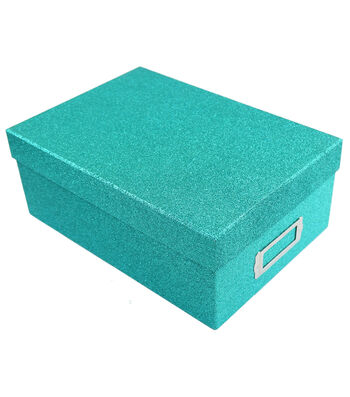 Teal Glitter Photo Storage Box