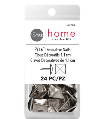 "Dritz Home 0.47"" Decorative Nails Square 24pcs Silver"
