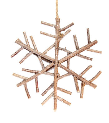 Blooming Holiday Christmas Large Glittered Twig Snowflake-Beige