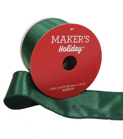 Maker's Holiday Christmas Satin Ribbon 2.5''x25'-Hunter Green, , hi-res