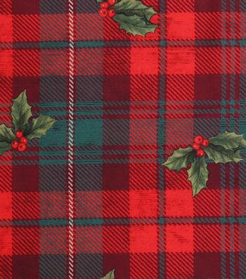 "Keepsake Calico™ Holiday Cotton Fabric 43""-Hollys on Plaid"
