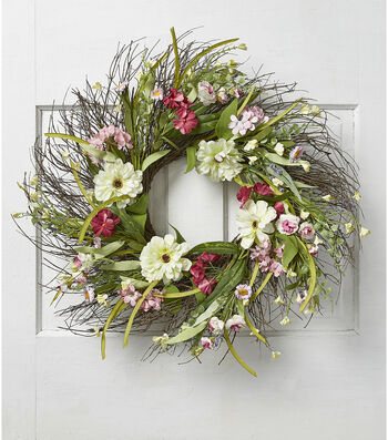 Fresh Picked Spring 24'' Zinnia & Wildflower Wreath-Cream