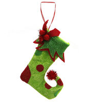 Maker's Holiday Christmas Whimsy Workshop Fabric Stocking Ornament-Green, , hi-res