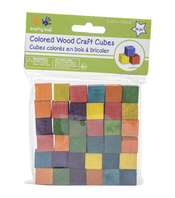 "Craftwood 5/8"" Wooden Cubes 36/Pkg-Multicolor"