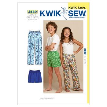 Kwik Sew Pattern K3589 Children's Lounge Pants & Shorts