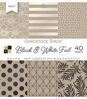 DCWV 40 Pack 6''x6'' Kraft Cardstock Stack-Black & White Foil, , hi-res