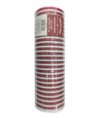 "Americana Decorative Mesh Ribbon 10""x30'-Red & White Stripes"