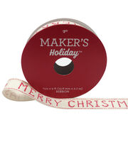Maker's Holiday Christmas Ribbon 5/8''X9'-Cross Stitch Merry Christmas, , hi-res