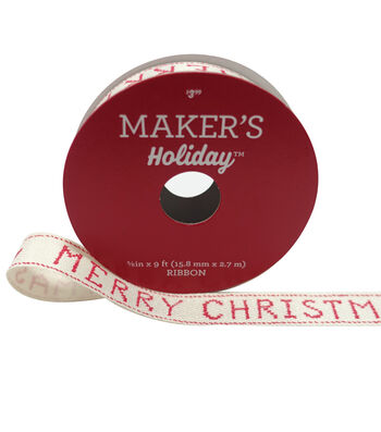 Maker's Holiday Christmas Ribbon 5/8''X9'-Cross Stitch Merry Christmas