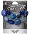Cousin® Jewelry Basics 10 Pack Polished Stone Beads-Blue