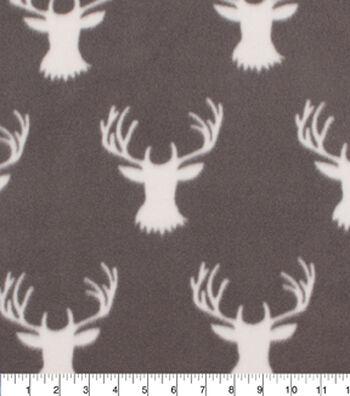 "Blizzard Fleece Fabric 59""-Stag Head On Grey"