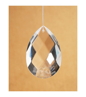 Hand-Cut Faceted Oval Raindrop Crystal Pendant, 50mm x 29mm x 16mm