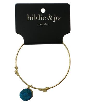 hildie & jo 7'' Gold Bangle Bracelet-Turquoise Druzy Dangle