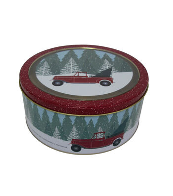 Maker's Holiday Christmas Large Round Clear Top Cookie Tin-Truck