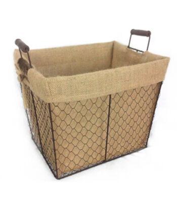 Organizing Essentials 14''x11'' Wire Basket with Burlap Liner