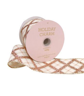 Maker's Holiday Christmas Ribbon 2.5''x25'-Pink Glitter & Beige Plaid