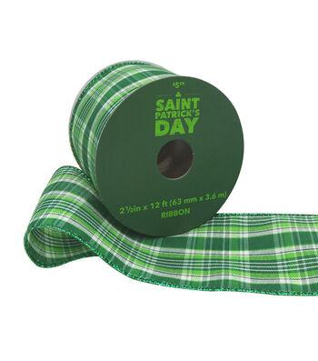 St. Patrick's Day Ribbon 2.5''x12'-Green Plaid with Glitter Edge