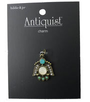 hildie & jo™ Bug Antique Gold Charm-Crystals & Green Stones, , hi-res