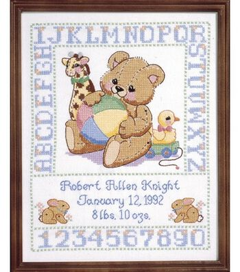"Bear Birth Sampler Stamped Cross Stitch Kit-11""x14"""