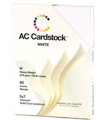 """American Crafts Textured Cardstock Pack 5""""X7""""-Solid White"""