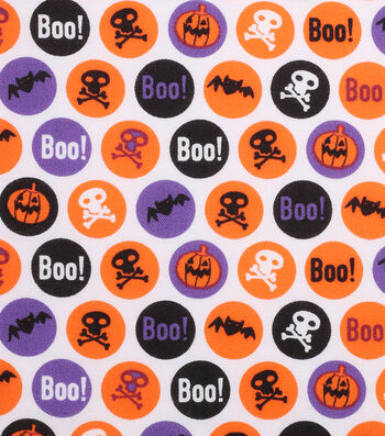 "Holiday Showcase™ Halloween Cotton Fabric 43""-Boo! Circles"