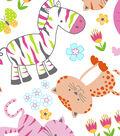 Snuggle Flannel Fabric 43\u0022-Baby Zoo White