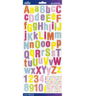 Sticko 154 Pack Rounded Glitter Alphabet Stickers-Pastel