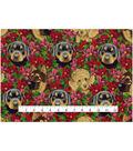 Christmas Cotton Fabric 43\u0022-Dogs & Poinsettias
