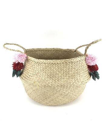 Summer Sol Seagrass Bag with Pom Pom-Natural