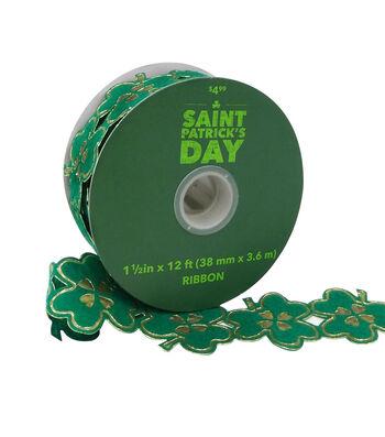 St. Patrick's Day Shamrock Laser Cut-out Ribbon 1.5''x12'-Green