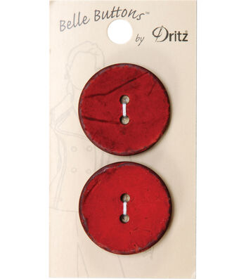 Dritz 30mm Belle Button Natural Coconut Medium Red