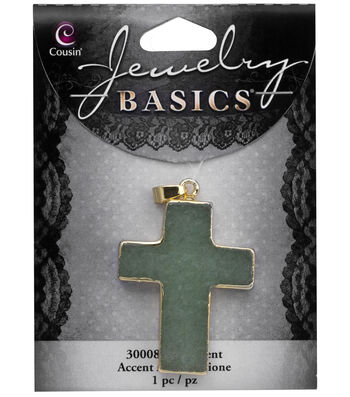 Cousin® Jewelry Basics Gold Trimmed Cross Pendant-Green