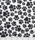 Snuggle Flannel Fabric 42\u0022-Black Paws