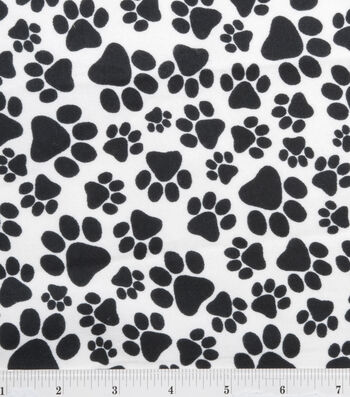 "Snuggle Flannel Fabric 42""-Black Paws"